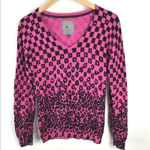 Volcom Sweater XS Leopard Check Pink Pullover